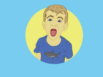 Super fun portrait linework color illustration