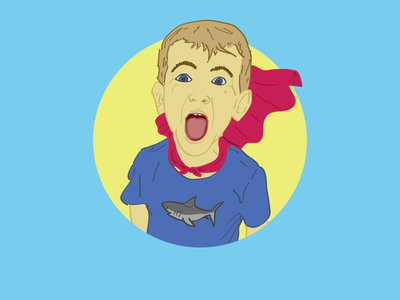 Super Vince portrait linework color illustration