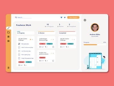 Project Management Tool web design product design typography dashboard ui scrum project management interface dashboad card web ui minimal design daily design adobe xd