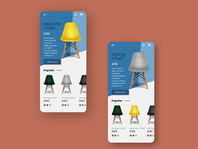 Woody Ecommerce product design shopping app pattern chair ecommerce app furniture ecommerce app animation interface card typography ui minimal design daily design adobe xd
