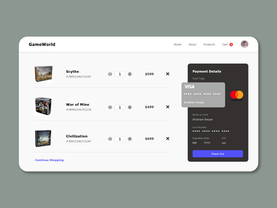 GameWorld   Ecommerce Cart cart interaction board game ux payment shopping cart ecommerce product design card animation web design interface web typography minimal ui design daily design adobe xd