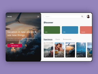 Vacay   Daily UI roadtrip camp vacation travel agency web ui traveling tourism travel app travel tours product design animation web design interface web minimal ui design daily design adobe xd