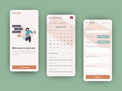 Journal App notes journal animation ux app design vector app illustration interaction product design interface ui minimal design daily design adobe xd