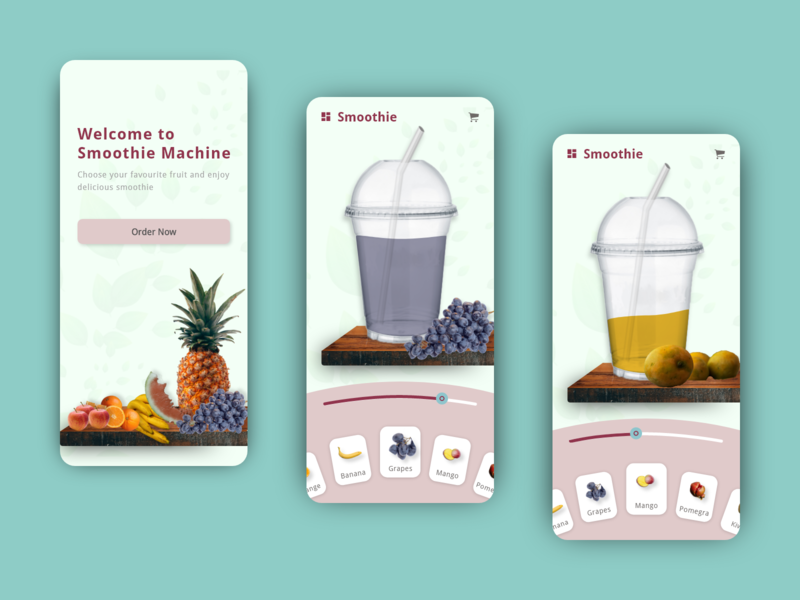 Smoothie Machine juice ux design slider smoothie ux app interaction product design animation interface minimal ui design daily design adobe xd