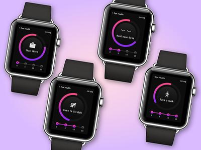 Eye Health on Smart Watch smartwatch ui  ux apple health app dark theme dark ui app eye health apple watch ux interaction product design animation interface minimal ui design daily design adobe xd