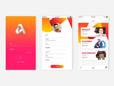 Home services app concept graphic design app icon app design adobe photoshop