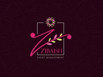 Zibaish Event Management branding event management decorative decoration decor flowers flower pattern illustration logodesign logo graphic design adobe illustrator