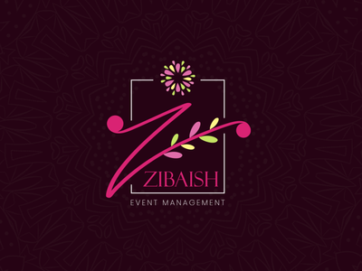 Zibaish Event Management branding event management decorative decoration decor flowers flower pattern illustration logodesign logo graphic design adobe illustrator