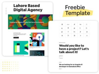 Free Agency Website Template. Sketch Download link