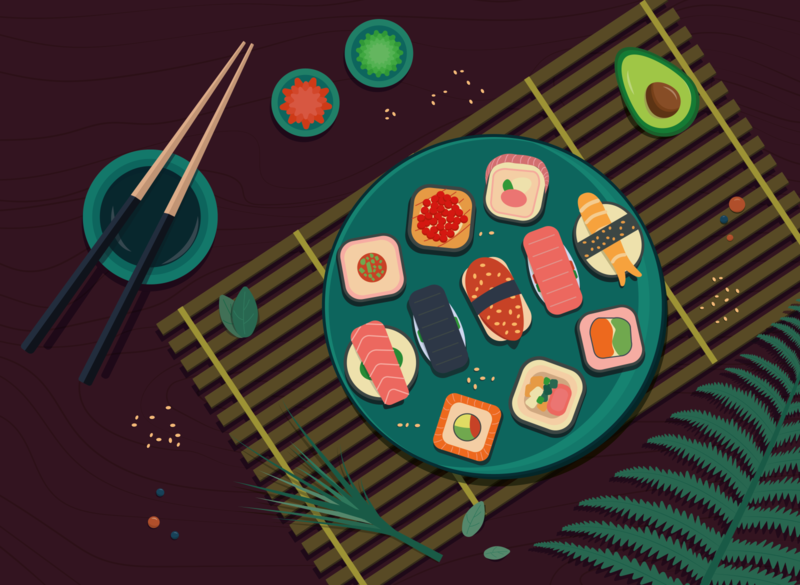 sushi food sushi design illustration