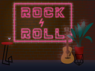 Rock n roll neon neon sign neon colors neon light illustration rock n roll