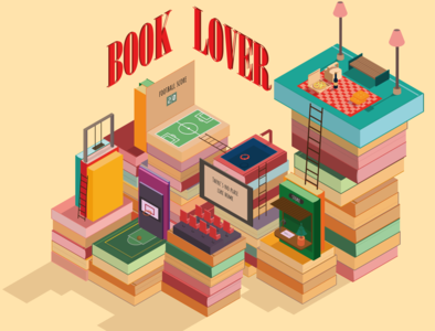 Book Lover isometric books vector illustration isometry isometric illustration isometric art isometric