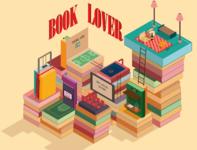 Book Lover isometric books vector illustration isometry isometric illustration isometric art isometric