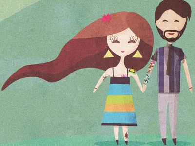 The happy couple, Erica y Pato illustration grainy texture solid colors minimal