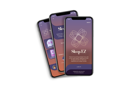 Sleep.EZ alarm clock dashboard monitor sleep app branding design ux ui