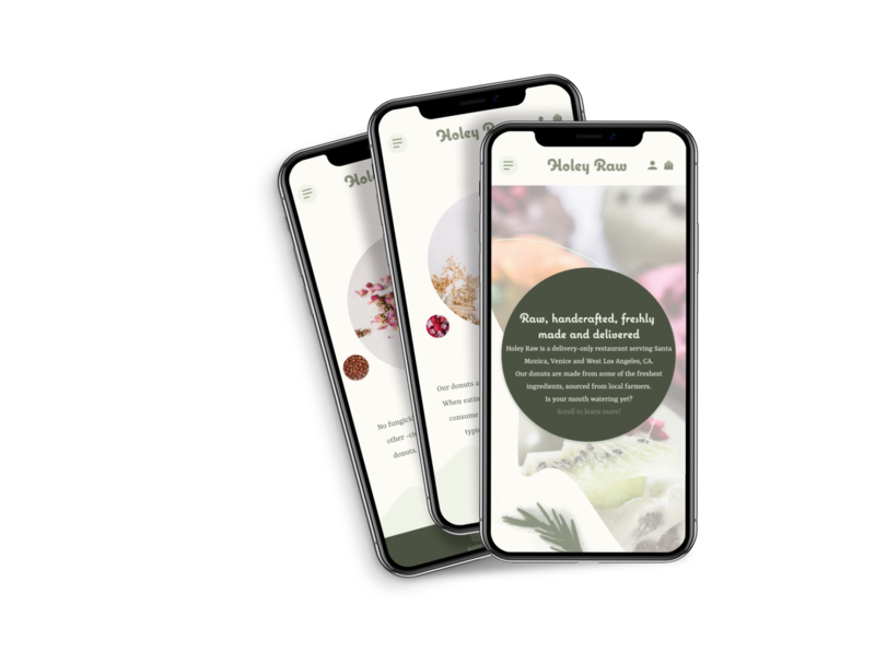 Holey Raw vegan restaurant food donuts delivery website web design ui
