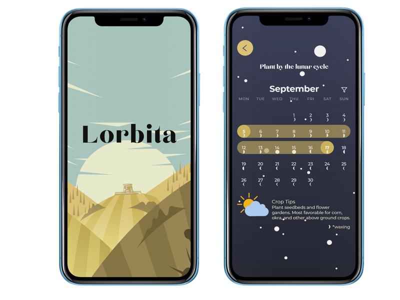 Lorbita - Lunar gardening for the urban food grower. mockup tracker calendar permaculture urban food gardening lunar moon vector app ui design