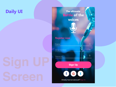 Sign Up page #01 Daily UI adobe illustrator challenges dailyuichallenge sign in adobexd adobe singing signup page dailyui 001 dailyui signup uiux uidesign
