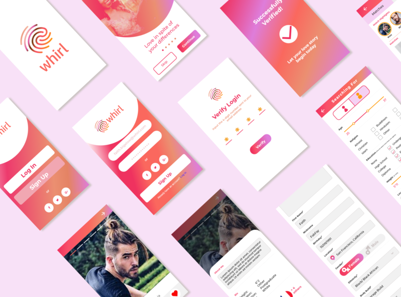 Whirl Dating App Screen Board product product design dating app ui design