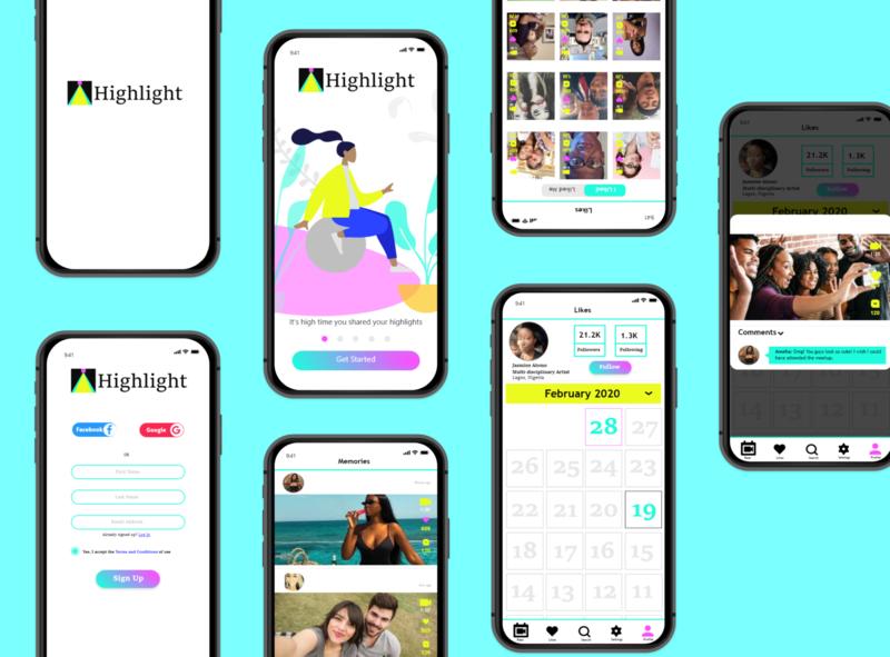 Highlight App highlight reel calendar social network design