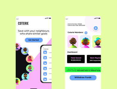 COTERIE SAVINGS 3D savings app savings challenge portfolio mobile product design ui mobile app design mobile ui bright colors 3d figma product design