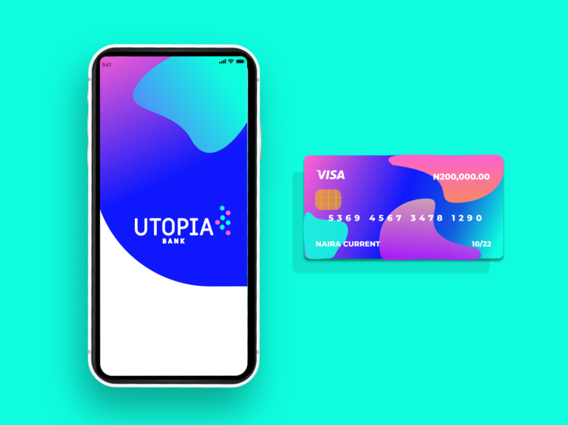 Utopia Bank Card gradients pattern art figma design banking bank challenge ui product bright colors