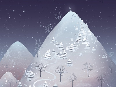 Winter night night snow winter illustration adobe photoshop illustration illustration art digital illustration childrens book illustration animal illuatrtion illustrator illustraion