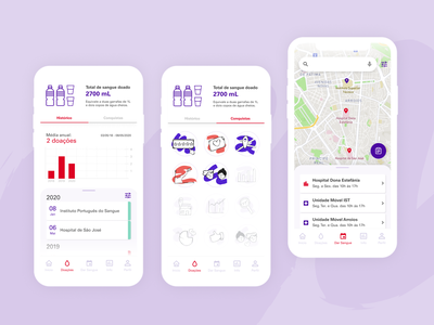 Dávida Mobile App achievements blood donation app blood donor healthcare mobile app product design illustration ui ux design