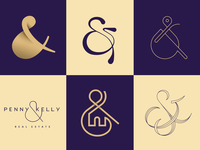 Ampersand real estate gold ampersand logo typography and typedesign purple kelly