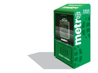 New Metro Vending Box vending. free newspaper globe metro green box