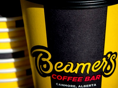 Beamer's Rebrand rebranding coffee cup cup lettering custom black and yellow shop coffee