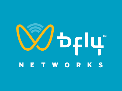 Bfly Networks Rebrand technology branding system custom type technical butterfly effect infinity butterfly yellow. pink blue networks internet provider wifi