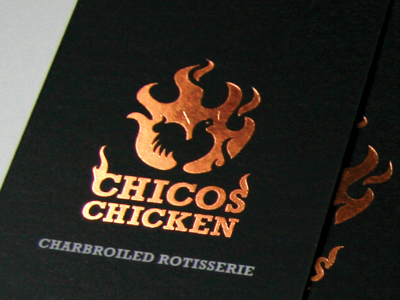 Chicos Chicken Cards business cards foil stamping branding take out chicken