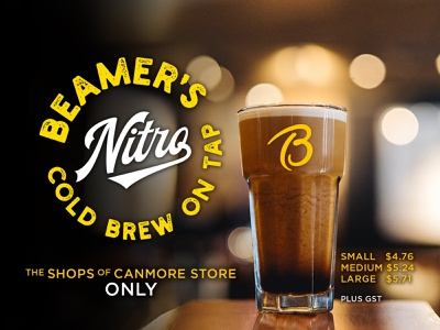 Beamers NitroBrewCoffee 2019 Dribbble pay screen yellow coffeeshop coffee promotional material ads