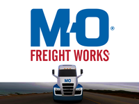 M O Freight Rebrand m red blue carrier o freight transport