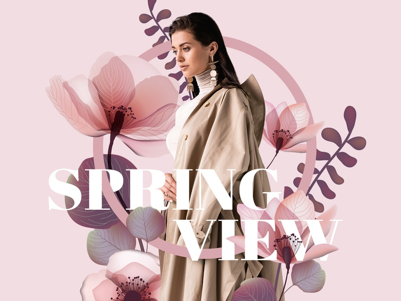 Spring fashion concept typography web model cover concept fashion design collage fashion illustration design