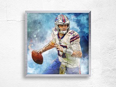 Josh Allen of Buffalo Bills - Sports Manipulation photoshop art art canvas wall wall art sports manipulation photoshop
