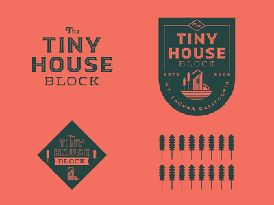 Tiny House Block nature identity house woods forest typography illustration logo branding tinyhouse