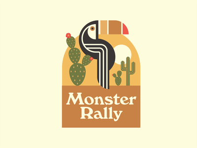 Monster Rally Badge illustration desert cactus toucan tropical monster rally