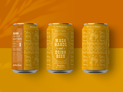 Wash Hands and Drink Beer: Eliqs Drink 4 Good tropical packaging vintage tiki retro washyourhands illustration can beer