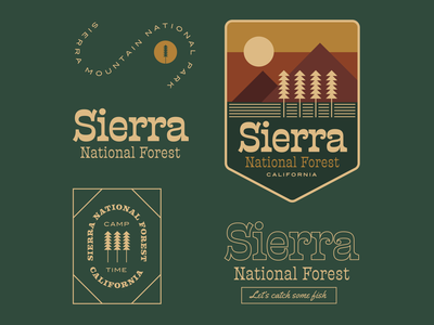 Sierra National Forest logo badge typography minimal branding illustration woods sierra forest
