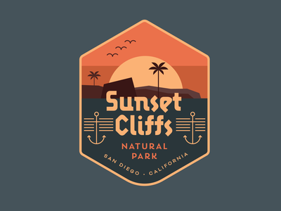 Sunset Cliffs Badge vector minimal illustration typography badge branding design