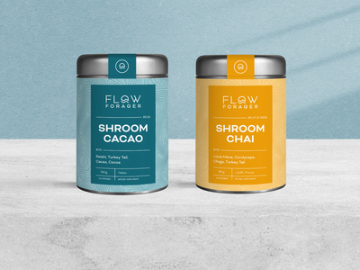 Flow Forager Packaging Design & Branding design badge typography shroom minimal healthy product packaging logo branding natural organic mushroom flow