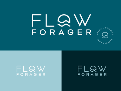 Flow Forager Logo Design drink organic healthy shroom mushroom design icon vector badge typography branding minimal