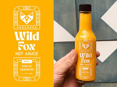 Wild Fox Hot Sauce vector food native fox illustration minimal packaging branding hot sauce