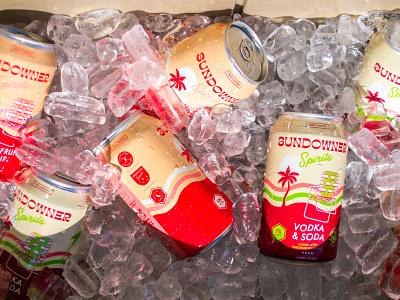 Sundowner Spirits margarita cannedcocktail drink beach illustration alcohol summer palmtree branding packaging can vodka cocktail