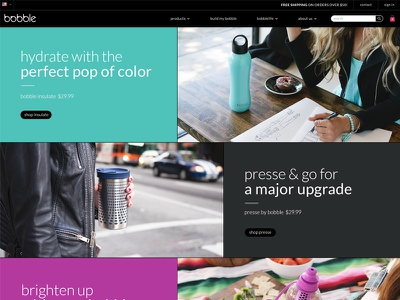 Homepage Design for Bobble 1/2 waterbottle lifestyle minimal ui color design homepage bobble