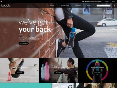Bobble Homepage 2/2 waterbottle lifestyle minimal ui color design homepage bobble