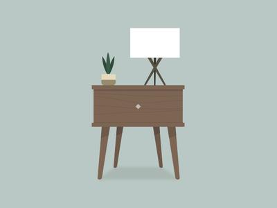 Mid Century Modern Desk Illustration
