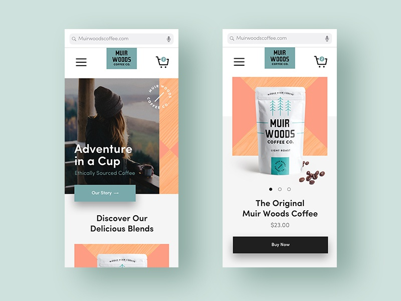Muir Woods Ecommerce Pages iphonex woods forest coffee geometric minimal design layout mobile app ecommerce muirwoods